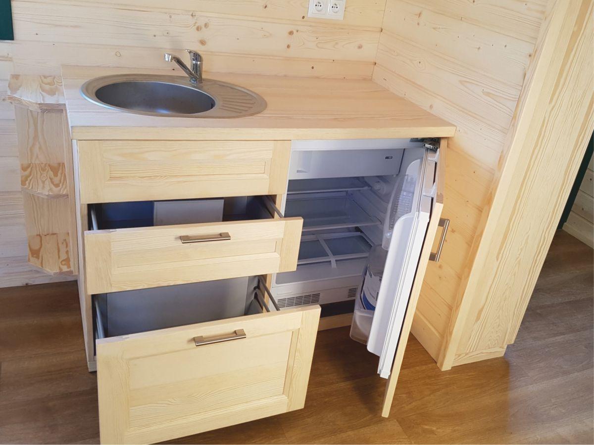 Küche 120 mit Kühlschrank und Spüle