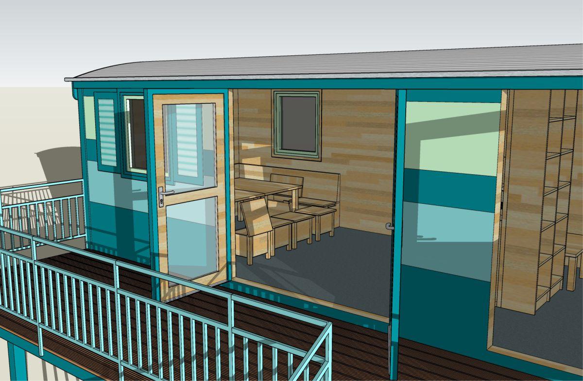 Terrassendoppeltür und Sitzbereich
